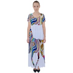 Horse Equine Psychedelic Abstract High Waist Short Sleeve Maxi Dress