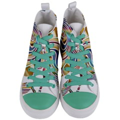 Horse Equine Psychedelic Abstract Women s Mid Top Canvas Sneakers