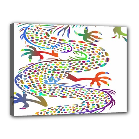 Dragon Asian Mythical Colorful Canvas 16  X 12