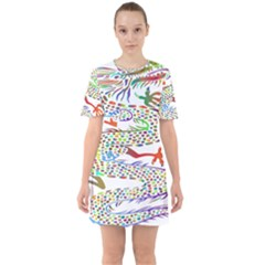 Dragon Asian Mythical Colorful Sixties Short Sleeve Mini Dress