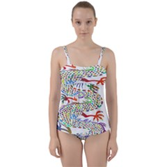 Dragon Asian Mythical Colorful Twist Front Tankini Set