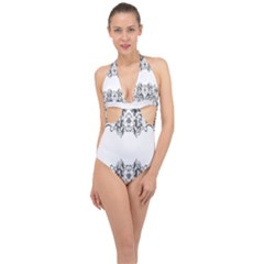 Vintage Ornamental Decorative Halter Front Plunge Swimsuit