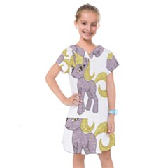 Unicorn Narwhal Mythical One Horned Kids  Drop Waist Dress