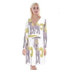 Unicorn Narwhal Mythical One Horned Long Sleeve Velvet Front Wrap Dress