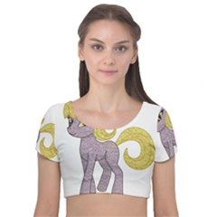 Unicorn Narwhal Mythical One Horned Velvet Short Sleeve Crop Top