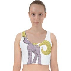 Unicorn Narwhal Mythical One Horned Velvet Racer Back Crop Top by Simbadda