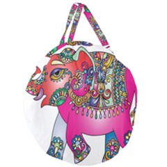 Elephant Pachyderm Animal Giant Round Zipper Tote