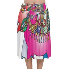 Elephant Pachyderm Animal Velvet Flared Midi Skirt