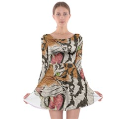 Tiger Tiger Png Lion Animal Long Sleeve Skater Dress