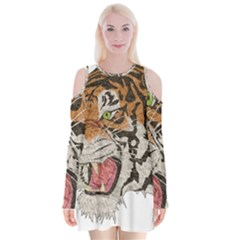 Tiger Tiger Png Lion Animal Velvet Long Sleeve Shoulder Cutout Dress by Simbadda
