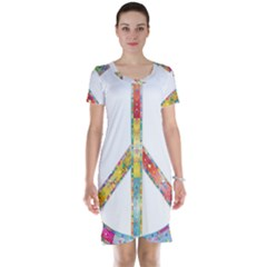 Flourish Decorative Peace Sign Short Sleeve Nightdress