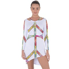 Flourish Decorative Peace Sign Asymmetric Cut Out Shift Dress