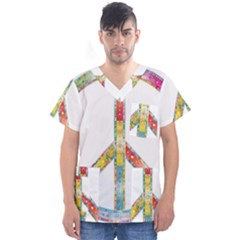 Flourish Decorative Peace Sign Men s V Neck Scrub Top