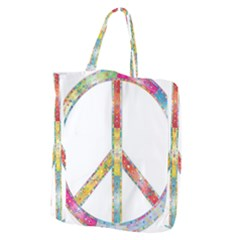 Flourish Decorative Peace Sign Giant Grocery Zipper Tote