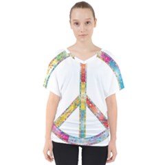 Flourish Decorative Peace Sign V Neck Dolman Drape Top