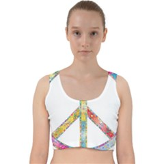 Flourish Decorative Peace Sign Velvet Racer Back Crop Top
