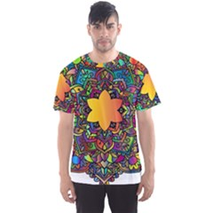 Mandala Floral Flower Abstract Men s Sports Mesh Tee