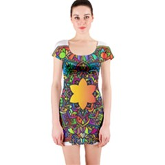 Mandala Floral Flower Abstract Short Sleeve Bodycon Dress