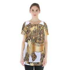 Gold Elephant Pachyderm Skirt Hem Sports Top