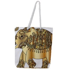 Gold Elephant Pachyderm Full Print Rope Handle Tote (large)