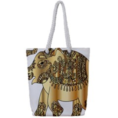 Gold Elephant Pachyderm Full Print Rope Handle Tote (small)