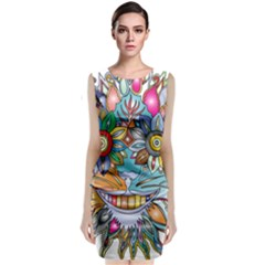 Anthropomorphic Flower Floral Plant Sleeveless Velvet Midi Dress