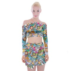 Anthropomorphic Flower Floral Plant Off Shoulder Top With Mini Skirt Set