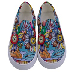 Anthropomorphic Flower Floral Plant Kids  Canvas Slip Ons