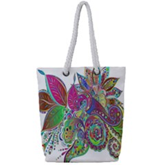 Floral Flowers Ornamental Full Print Rope Handle Tote (small)