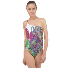 Floral Flowers Ornamental Classic One Shoulder Swimsuit