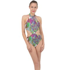 Floral Flowers Ornamental Halter Side Cut Swimsuit
