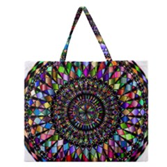 Mandala Decorative Ornamental Zipper Large Tote Bag by Simbadda
