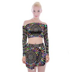 Mandala Decorative Ornamental Off Shoulder Top With Mini Skirt Set