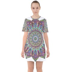 Mandala Decorative Ornamental Sixties Short Sleeve Mini Dress