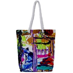 Walk With A Dog 1/1 Full Print Rope Handle Tote (small) by bestdesignintheworld