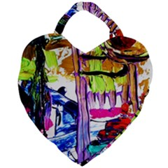 Walk With A Dog 1/1 Giant Heart Shaped Tote by bestdesignintheworld