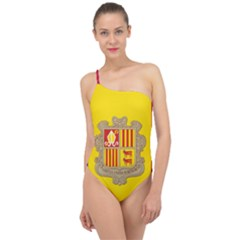 National Flag Of Andorra  Classic One Shoulder Swimsuit