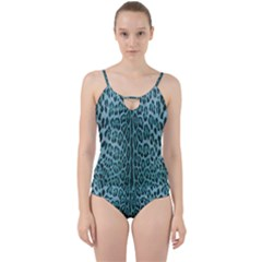 Turquoise Leopard Print Cut Out Top Tankini Set by CasaDiModa
