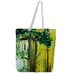 Old Tree And House With An Arch 8 Full Print Rope Handle Tote (large) by bestdesignintheworld