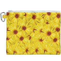 Yellow Flowers Canvas Cosmetic Bag (xxxl) by girleyjanedesigns