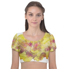 Yellow Rose Velvet Short Sleeve Crop Top