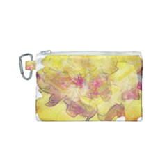 Yellow Rose Canvas Cosmetic Bag (small) by aumaraspiritart