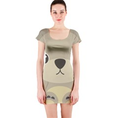 Animal Bear Cartoon Children Kids Short Sleeve Bodycon Dress by Simbadda