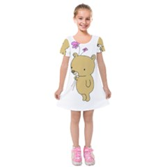 Cute Bear Cartoon Kids  Short Sleeve Velvet Dress