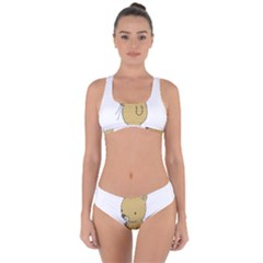 Cute Bear Cartoon Criss Cross Bikini Set