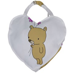 Cute Bear Cartoon Giant Heart Shaped Tote by Simbadda