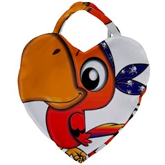 Bird Cartoon Character Parrot Giant Heart Shaped Tote