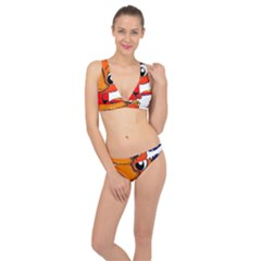 Bird Cartoon Character Parrot Classic Banded Bikini Set