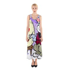 Bunny Easter Artist Spring Cartoon Sleeveless Maxi Dress