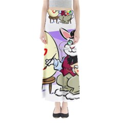 Bunny Easter Artist Spring Cartoon Full Length Maxi Skirt